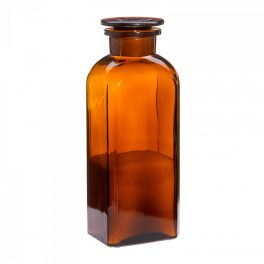 Apothecary bottle LARGE square, amber